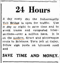 Indooroopilly Toll Bridge advertisement, Queensland Times