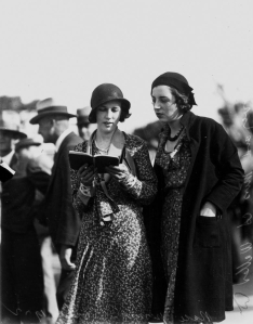 Mrs R. Harvey and Miss A. Waller picking a winner at Albion Park races Brisbane October 1932