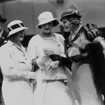 Three women studying the form guide at Ascot races Brisbane 2 December 1933
