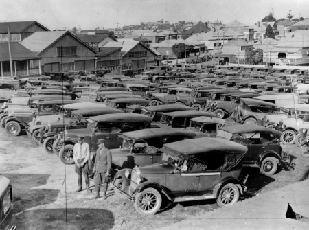 R.A.C.Q. parking lot in Fortitude Valley during the Brisbane Exhibition ca. 1927