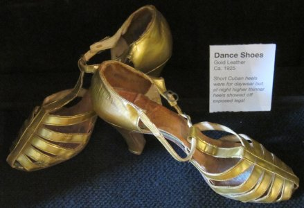 Gold leather dance shoes