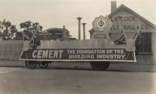 Queensland Cement and Lime Company float on display in Brisbane