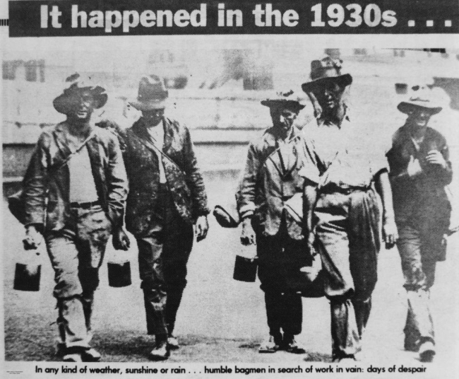 Unemployed men searching for work in Queensland during the Depression ca. 1932-2